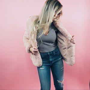 Rose Pink Faux Fur Coat